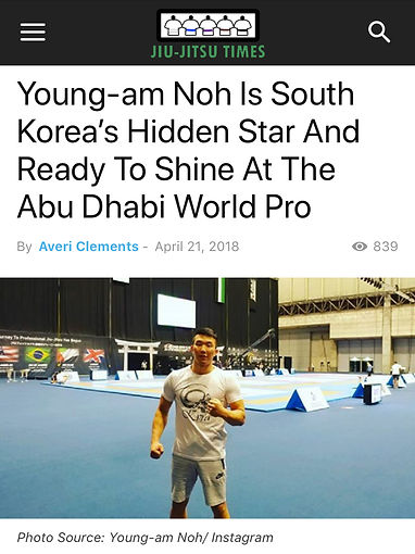 Article on South Korea's Youngam Noh at the Abu Dhabi World Pro