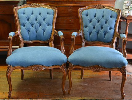 A pair of mid 20th Century Beechwood Louis XV style Open Armchairs. R4995 each