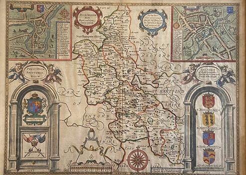 17th Century Map of BUCKINGHAM Both Shyre and Shire towne describ.' by John Speed c.1623. R9995