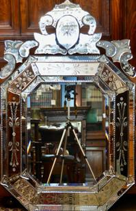 A large Venetian Mirror, H146cm x W94cm. R7995