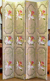 A four panel Screen, upholstered in silk. R10995