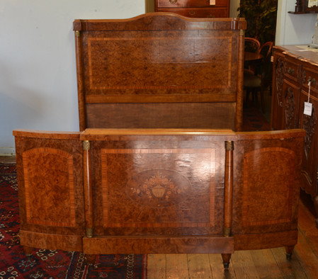 A 19th/20th Century French inlaid maple Double Bed. R22995
