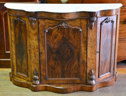 A Victorian burr walnut Side Cabinet, with marble top. Reserved