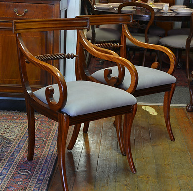 A pair of Regency style mahogany Open Armchairs. R3295 each
