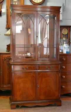 A Georgian style mahogany Display Cabinet on Cupboard. R14995