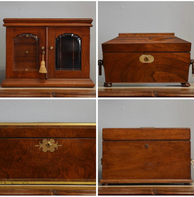Antique Boxes; including A Tea Caddy, Military Writing Box, Letter Box and Jewellery Box.