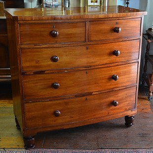 A Victorian mahogany bow-front Chest of Drawers. R13995