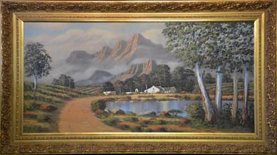 W P Groblar - Cape homestead with mountainous background- 84cm x 174cm. R9995