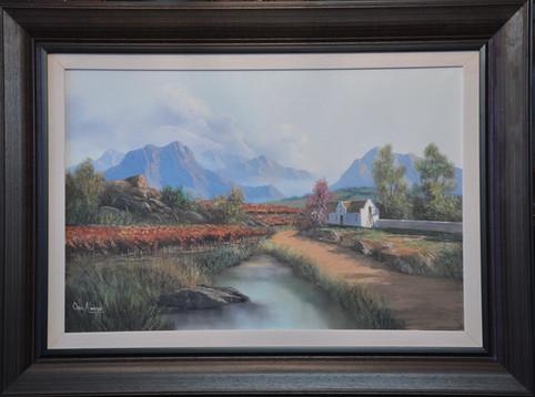 Otto Albertyn - Mountainous Cape Vineyard - 60cm x 90cm. R9995