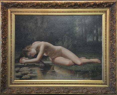 Nude by stream - oil on board - 74cm x 98cm. R8995