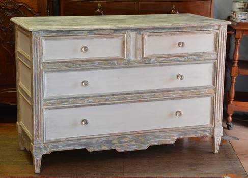 A mid 20th Century paint techniqued French Commode. R8995