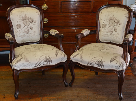 A pair of mahogany Louis XV style Open Armchairs. R4995 each
