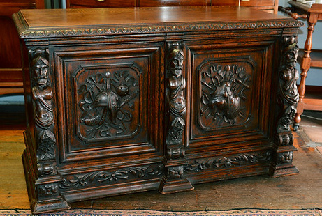 A 19th Century finely carved oak Side Cabinet. R16995