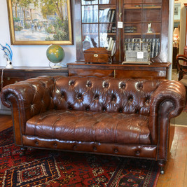 A fine well worn leather Chesterfield, with fantastic patina. SOLD