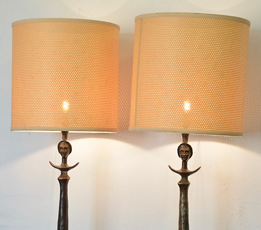 A pair of Bronze Tete de Femme Floor Lamps, after Alberto Giacometti. R14995 each