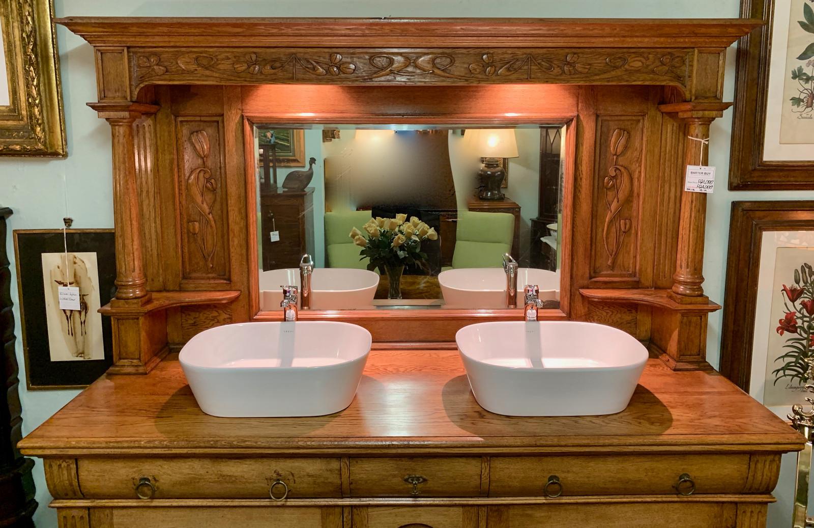 An Art Nouveau Oak Double Basin Bathroom Vanity R24995