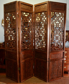A Chinese five panel carved Screen. (Only four photographed). R19995