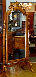 A Victorian style carved mahogany Cheval Mirror. R12995