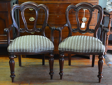 A pair of Victorian style mahogany Carvers/Armchairs. R3295 each