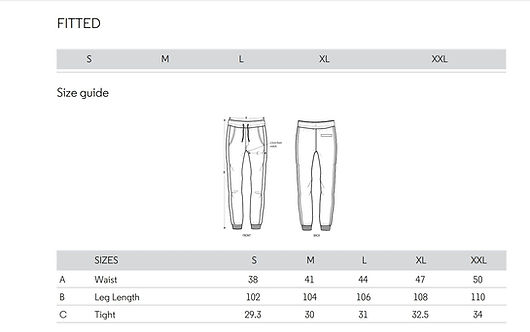 A size guide for our joggers