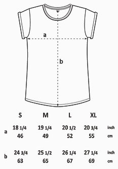 A Size guide for our rolled sleeve T-Shirt