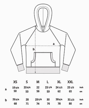 A Size guide for our hoodies