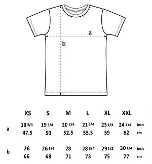 Size guide for our classic T-Shirt