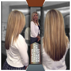 KERATIN TREATMENT & HIGHLIGHT & HAIRCUT
