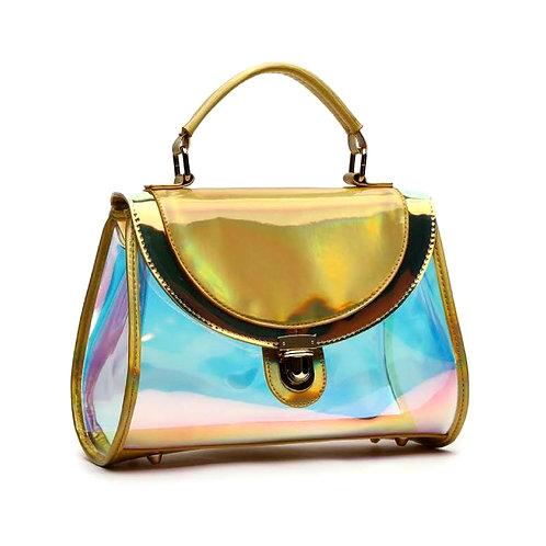 Gold Hologram Glossy Patent Leather Flap Handbag