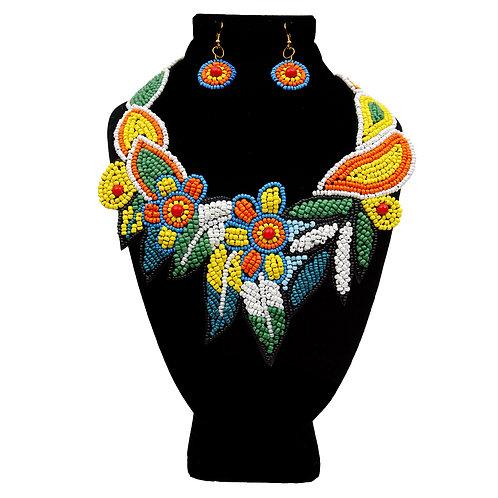 Multi Color Beaded Floral Collar Bib Necklace Set