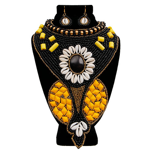 Black and Yellow Bead and Shell Long Collar Bib Necklace Set with Stone Center