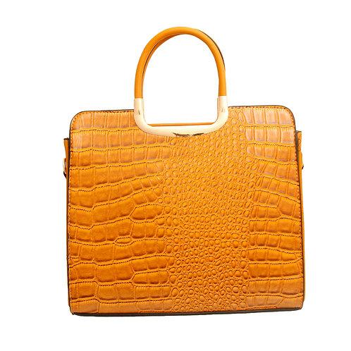Mustard Vegan Alligator Leather Square Handbag