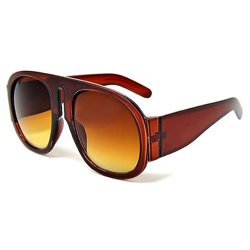 Oversized Round Brown Sunglasses with Center Cutout Detail