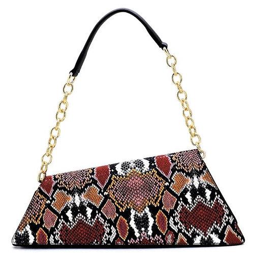 Pink Snake Skin Vegan Leather Baguette Style Shoulder Handbag