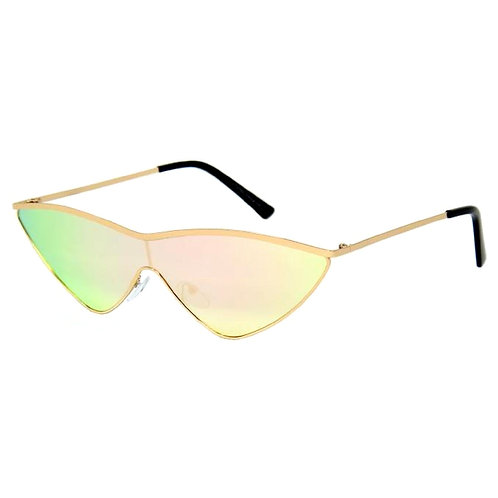 Mirrored Lens and Gold Retro Extreme Cat Eye Sunglasses