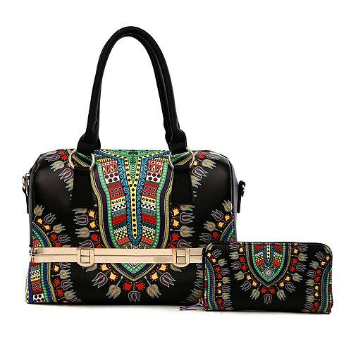 Black Dashiki Print Vegan Leather Framed Handbag with Matching Zippered Wallet