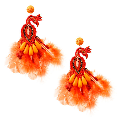 Peacock Bead and Feather Earrings