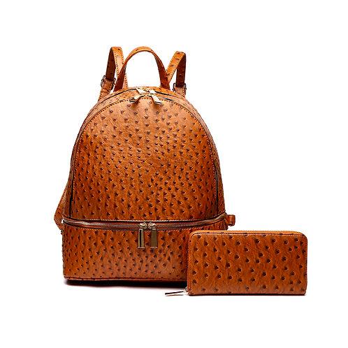 Camel Vegan Ostrich Leather Backpack/Handbag and Wallet Set