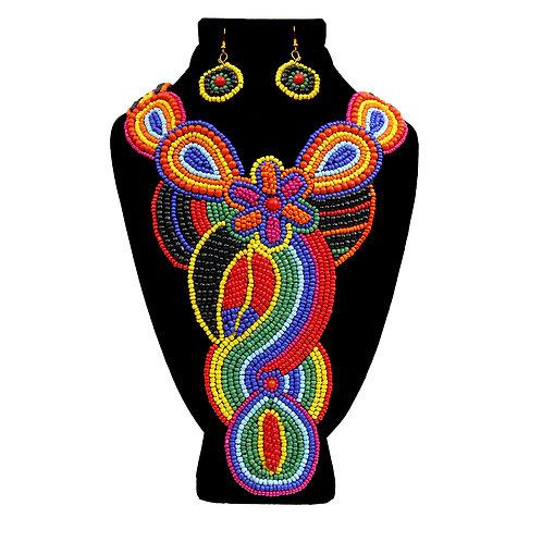 Rainbow Beaded Flower Bib Necklace Set