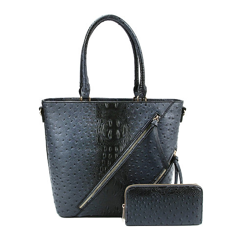 Black Vegan Ostrich Zipper Tote Bag Set