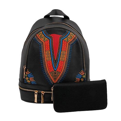 Black Dashiki Print Vegan Leather Backpack and Wallet Set