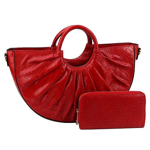 Red Crocodile Vegan Leather Semi Circle Handbag Set