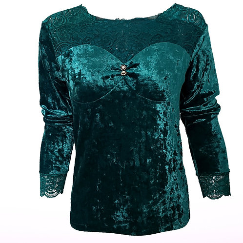 Velvet Green Top w/ Lace Detail