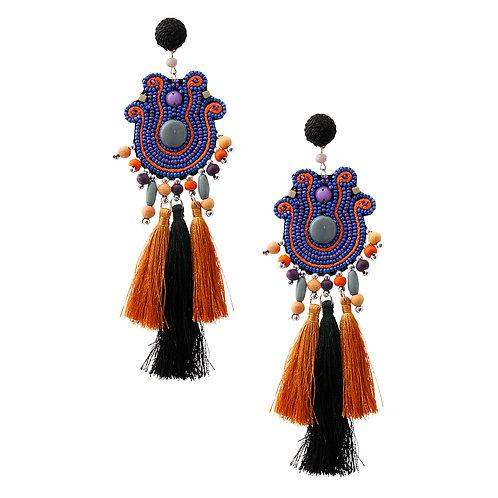 Bead and Tassel Tribal Earrings