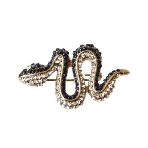 Burnished Gold Metal Snake Brooch