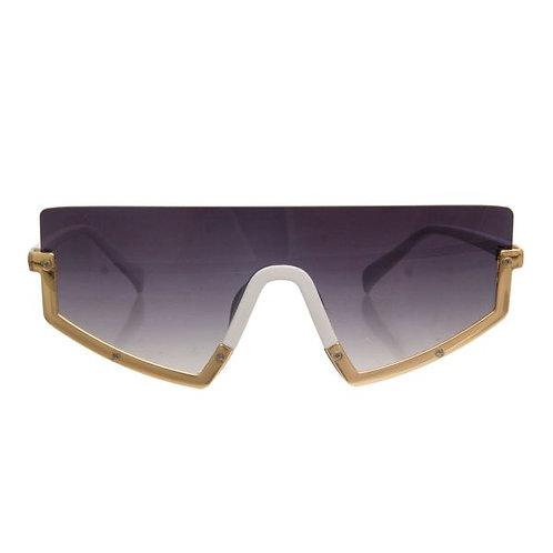 Black Lens Visor Style Sunglasses Featuring Bottom Frame Detail