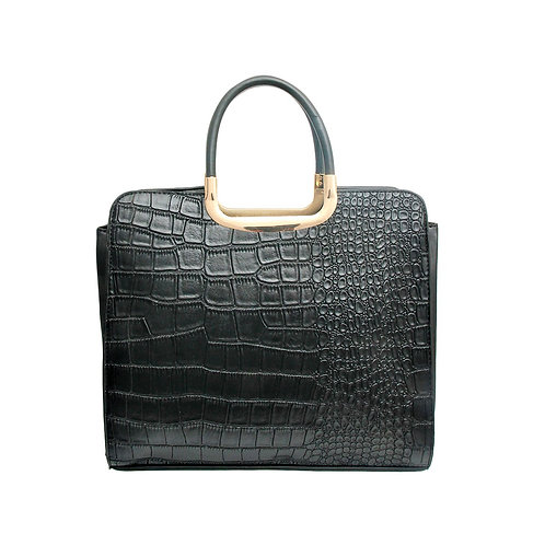 Black Vegan Alligator Leather Square Handbag
