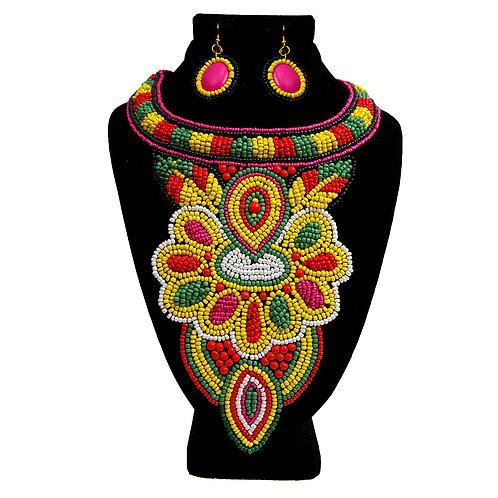 Multi Color Beaded Bib Necklace Set
