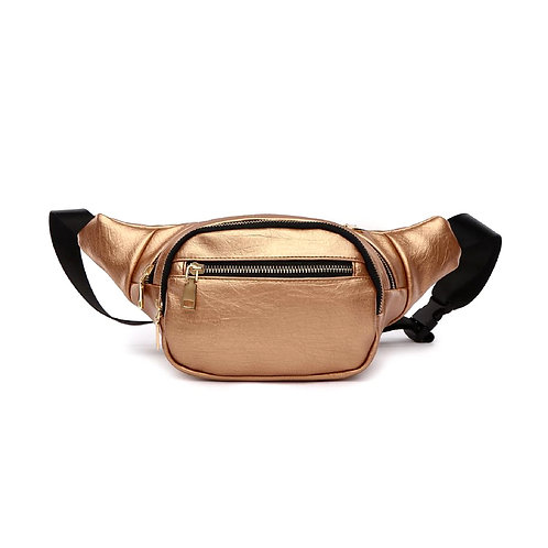 Rose Gold Vegan Leather Triple Compartment Fanny Pack