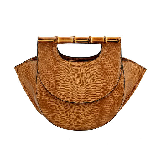 Vegan Leather Satchel with Bamboo Handle
